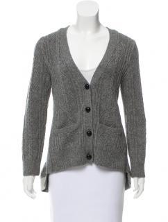 SACAI gray cable knit wool cardigan sweater  hi-low hem JP sz3