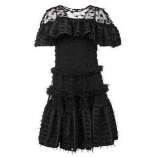 ANAIS JOURDEN black sheer shimmery ruffle tulle DRESS