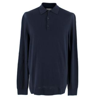 Sunspel Navy Long-Sleeved Polo
