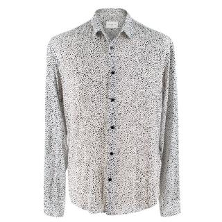 Sandro White Spotted Button-Up Shirt