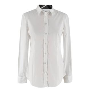 Burberry White Button-Up Tailored Blouse