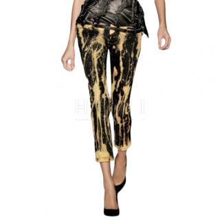 Balmain Black & Yellow Tie-Dye Jeans