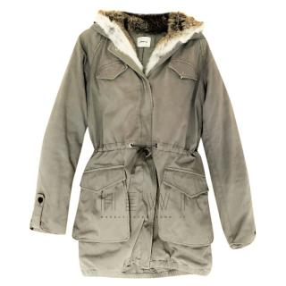 Lempelius Khaki Rabbit Fur Trim Hooded Parka