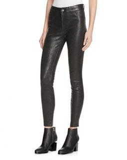 Paige Black Mid Rise Skinny Leather Jeans