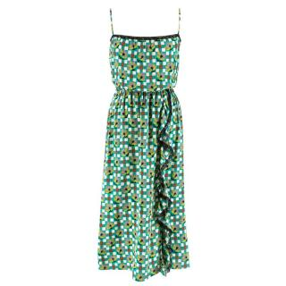 Prada Green Printed Ruffled Sundress