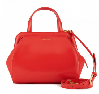Lulu Guinness Bright Red Polished Leather Small Paula Bag