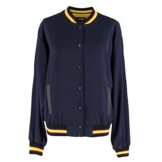DKNY x Cara Delevigne Navy Sport Bomber Jacket