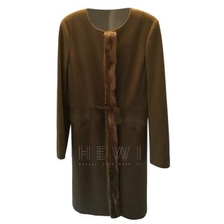 Prada Mink Trim Virgin Wool Collarless Coat