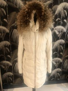 Prada Cream Fox Fur Trim Puffer Coat