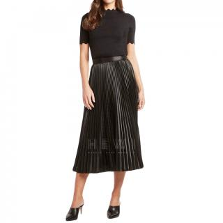 08sircus Black Crepe de Chine Pleated Midi Skirt