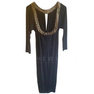 Just Cavalli Leopard Print Trim Black Low Back Dress