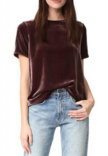 Vince Purple Velvet Crew Neck Top