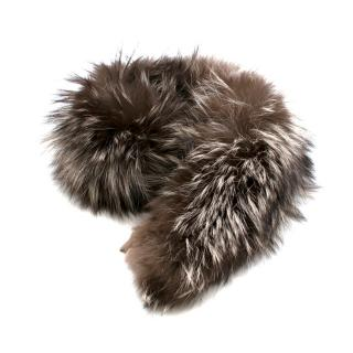 Bespoke Brown Racoon Fur Coat Collar