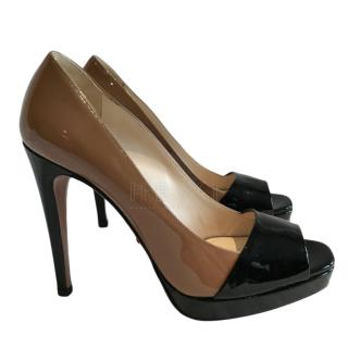 Prada Two Tone Patent Peep-Toe Platform Pumps