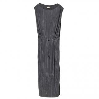 Saint Laurent tie waist grey plisse sleeveless dress