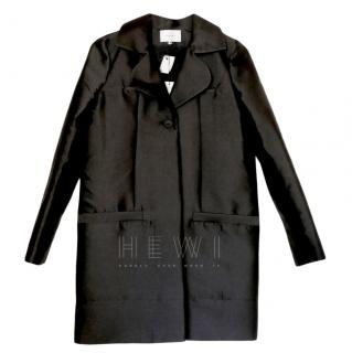 Carven Black Satin Tailored Coat