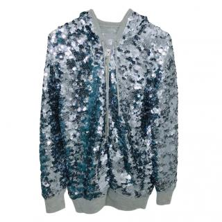 Joseph Grey Cashmere Sequin Hooded Jacket