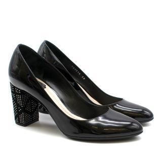 Dior Black Studded Patent Pumps