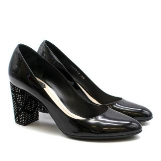 Dior Black Studded Patent Pumps