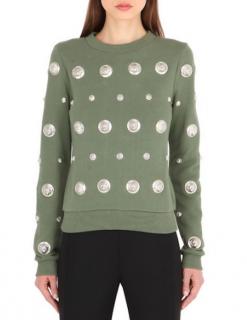 Versus Versace Khaki Jersey Embellished Jumper