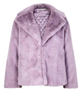 Alice + Olivia Thora lilac faux-fur jacket