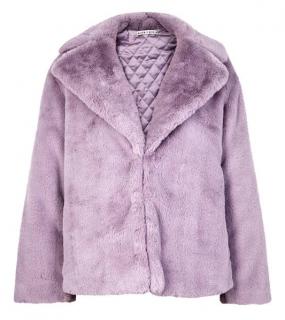 Alice + Olivia Thora lilac faux-fur jacket