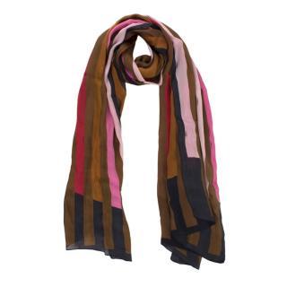 Fendi Multicolour Silk Striped Scarf