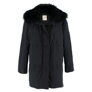 Moncler Black Down Coat with Fur Collar