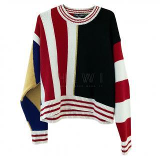 Dolce & Gabbana Multi Print Ribbed Knit Jumper