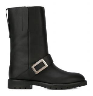 Roger Vivier Buckle Detail Leather Biker Boots
