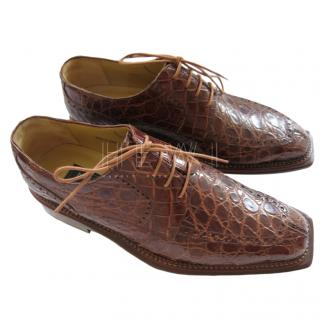 Mezlan Platinum series brown crocodile brogue shoes