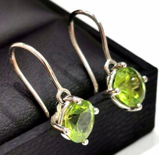 Bespoke Peridot solitaire drop earrings