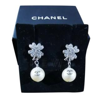 Chanel clover crystal and faux pearl drop earrings