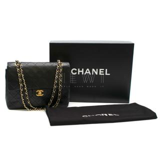 Chanel Vintage Black Classic Lambskin Double Flap Bag