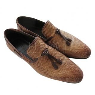 Berluti brown woven leather tassel detail loafers