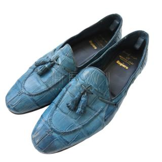 Raparo Blue Crocodile Leather Loafers