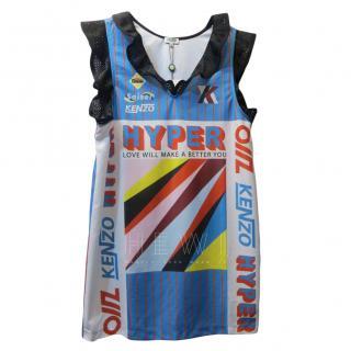 Kenzo Striped Multi-Print Ruffle Shift Dress