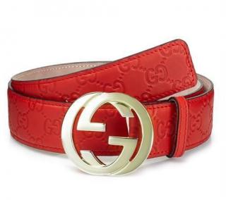 Gucci Men's Red GG Embossed Monogram Belt