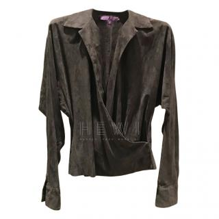 Ralph Luaren Collection Soft Suede Wrap Style Top