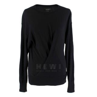 Isabel Marant Black Cashmere Draped Jumper