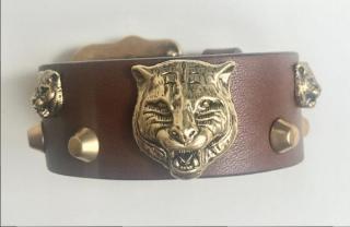 Gucci Tan Feline Head Studded Leather Cuff