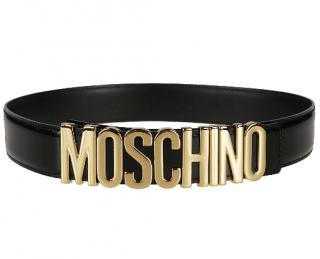 Moschino Black & Gold Logo Belt