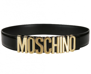 Moschino Black & Gold Logo Belt