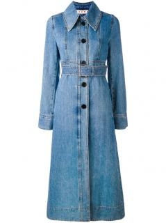 Marni Blue Denim Belted Trench Coat