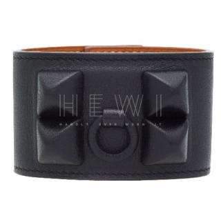 Hermes Evercalf Leather Black Shadow CDC Bracelet