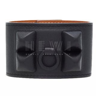 Hermes Evercalf Leather Black Shadow CDC Bracelet
