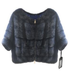 Rosestart Royal Navy Mink Fur Short Jacket