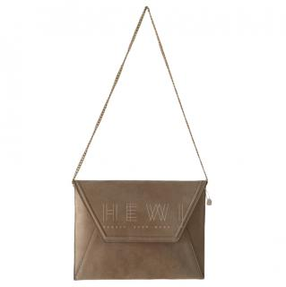 Max Mara Beige Suede Envelope Crossbody Bag