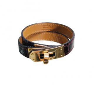 Hermes Bordeaux Alligator Kelly Double Tour Bracelet