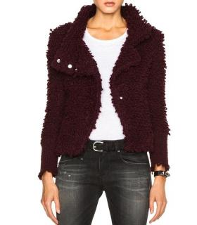 IRO Burgundy Caty Loop Stitch Knit Jacket